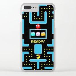 pac-man blue Clear iPhone Case