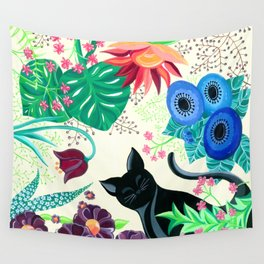 Natures Confetti Cat  Wall Tapestry