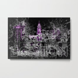 Pop Art BOSTON Skyline | purple Metal Print