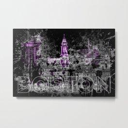 Pop Art BOSTON Skyline | purple Metal Print