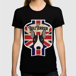 English Bull Terrier - Distressed Union Jack Beer Label Design T-shirt