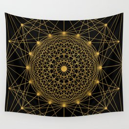 Geometric Circle Black and Gold Wall Tapestry