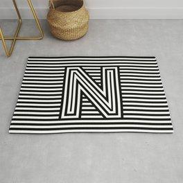 Track - Letter N - Black and White Rug