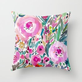 Pink Pow Wow Abstract Painterly Floral Throw Pillow
