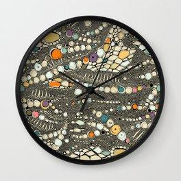 iguana skin black pop Wall Clock
