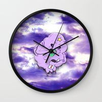lumpy space princess Wall Clocks featuring Meanwhile in Lumpy Space by Oceanic Inks