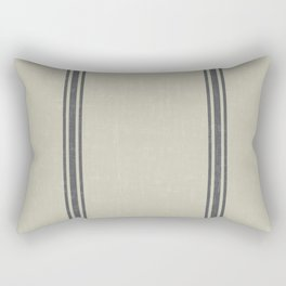 Grey Stripes on Linen color background French Grainsack Distressed Country Farmhouse Rectangular Pillow