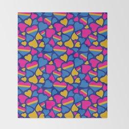 Pan Pride Hearts Pattern Throw Blanket