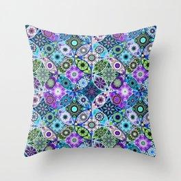 Moroccan bazaar   blue Throw Pillow