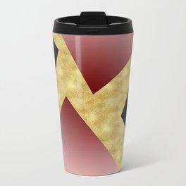 Elegant gold black pink geometry Travel Mug
