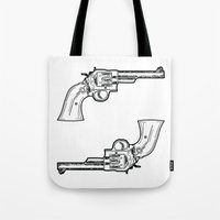 guns Tote Bags featuring Guns by Dahlia Inspirations
