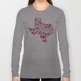 Texas A&M Landmark State - Maroon and Gray Texas A&M Theme Long Sleeve T-shirt