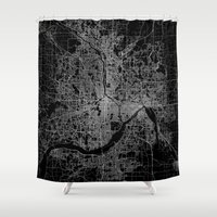 minneapolis Shower Curtains featuring minneapolis map by Line Line Lines