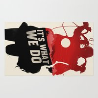 daryl dixon Area & Throw Rugs featuring Daryl Dixon - Red and Black by Duke Dastardly