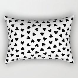 Tiny hand drawn black hearts Rectangular Pillow
