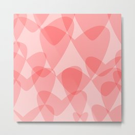 Pink Hearts Background Metal Print