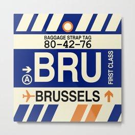 BRU Brussels • Airport Code and Vintage Baggage Tag Design Metal Print