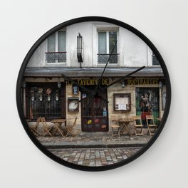 Cafe in Monmartre Paris Wall Clock