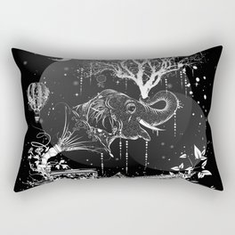 Surrealistic dream, paper boat, elephant, tree and gramophone Rectangular Pillow