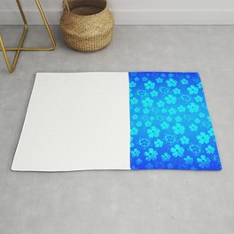 Blue Hawaiian Honu And Tropical Flowers Rug