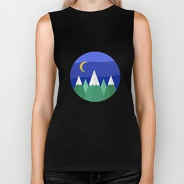 Simple Mountain Night Landscape Biker Tank