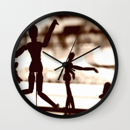 Wooden Puppet Sepia Wall Clock