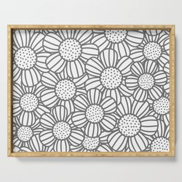 Field of daisies - gray Serving Tray