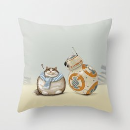 CAT AND DROID Throw Pillow