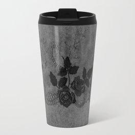 Pure elegance- Black floral luxury lace on dark grunge backround Travel Mug