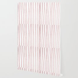 Simply Drawn Vertical Stripes in Rose Gold Sunset Wallpaper