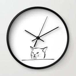 Confused cat meme drawing Wall Clock