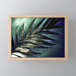 BLUE GOLD GREEN GREY METALLIC PALM LEAF TROPICAL PRINT Framed Mini Art Print