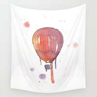 hot air balloon Wall Tapestries featuring Red hot air balloon  by Sandra Silén