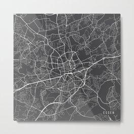 Essen Map, Germany - Gray Metal Print