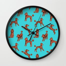 Chocolate Poodles Pattern  (Turquoise Background) Wall Clock