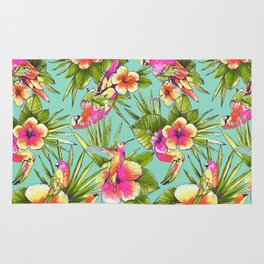 Tropical flowers with parrots Rug