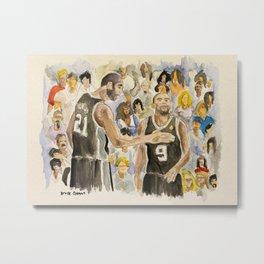 Tim Duncan & Tony Parker_Pro basketball players Metal Print