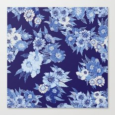Floral pattern in Indigo Canvas Print
