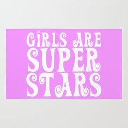 Girls Are Super Stars - Pink Rug