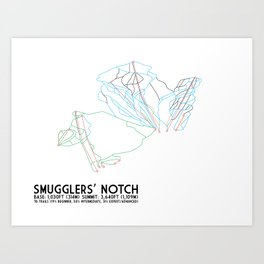 Smugglers' Notch, VT - Minimalist Trail Art Art Print