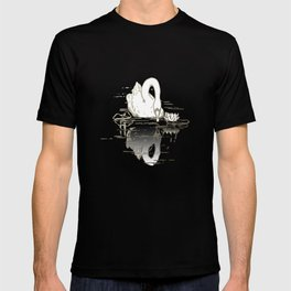 Beautiful Swan Reflection - Riptide Aqua T-shirt