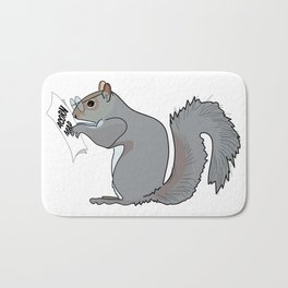 Funny and Cute Squirrel with Glasses Reads Acorn Map Bath Mat