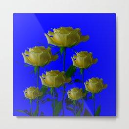IVORY WHITE LONG STEMMED ROSES ON BLUE Metal Print