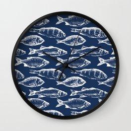 Fish // Navy Blue Wall Clock