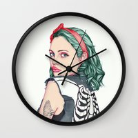 girl Wall Clocks featuring GIRL by Laura O'Connor