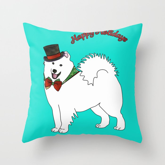 Snazzy Holiday Samoyed Throw Pillow