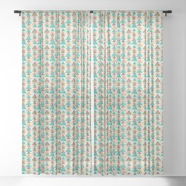 Abstract brown and turquoise pattern of triangels Sheer Curtain