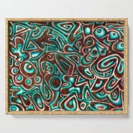 Jack Turquoise/Brown Serving Tray