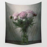 peonies Wall Tapestries featuring Peonies by Pauline Fowler ( Polly470 )