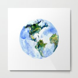 Hand Drawn Earth Metal Print